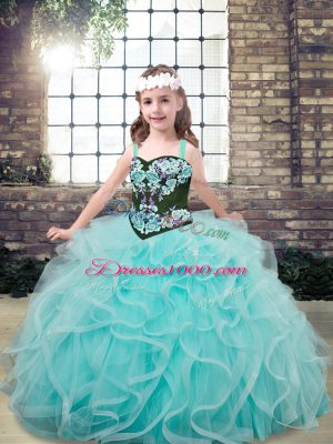 Aqua Blue Tulle Lace Up Straps Sleeveless Floor Length Winning Pageant Gowns Embroidery and Ruffles