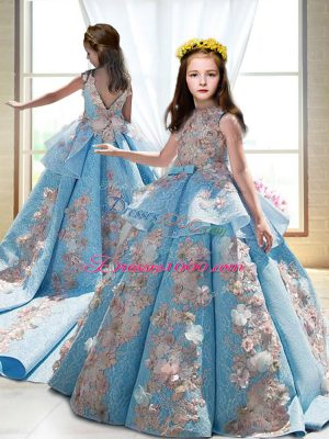 Sleeveless Appliques Backless Child Pageant Dress with Blue Court Train