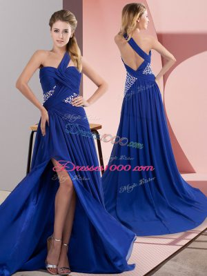 New Style Sleeveless Chiffon Sweep Train Backless Dress for Prom in Royal Blue with Beading and Ruching