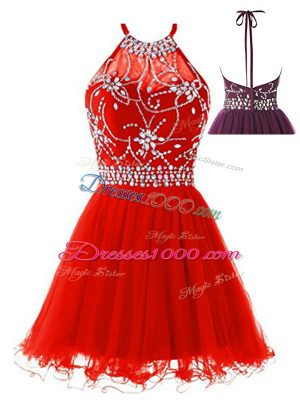 Edgy Mini Length Backless Prom Gown Red for Prom and Party with Beading