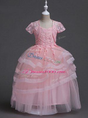 Modest Baby Pink Ball Gowns Appliques Flower Girl Dresses Zipper Tulle Sleeveless Floor Length