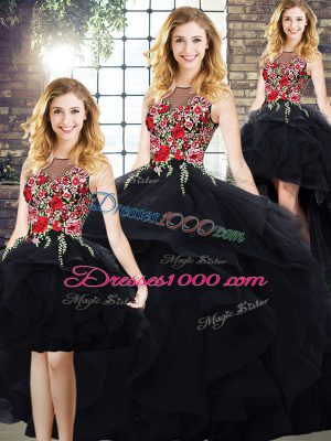 Black Ball Gowns Beading and Embroidery 15th Birthday Dress Lace Up Tulle Sleeveless Floor Length