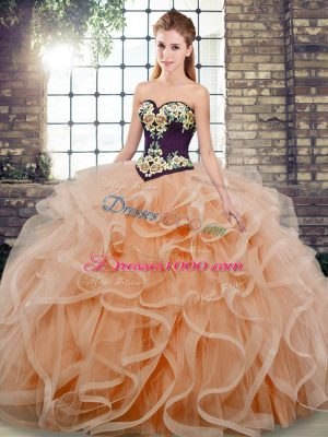 Low Price Peach Tulle Lace Up Quince Ball Gowns Sleeveless Sweep Train Embroidery and Ruffles