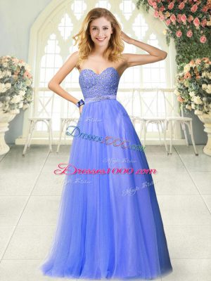 Fashion Blue A-line Tulle Sweetheart Sleeveless Beading Floor Length Zipper Party Dress Wholesale