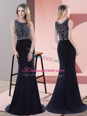 Luxurious Navy Blue Mermaid Chiffon Scoop Sleeveless Beading and Lace Zipper Prom Gown Sweep Train