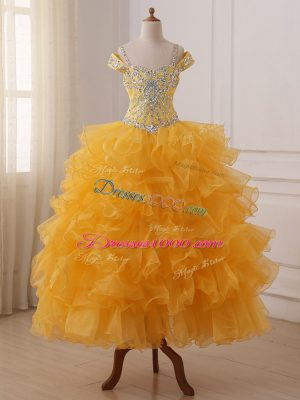 Sleeveless Organza Floor Length Lace Up Winning Pageant Gowns in Gold with Beading and Ruffled Layers