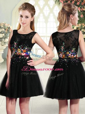 Discount Black Sleeveless Beading and Embroidery Mini Length Evening Dress