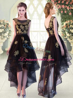 Custom Designed Appliques Prom Gown Black Lace Up Cap Sleeves High Low