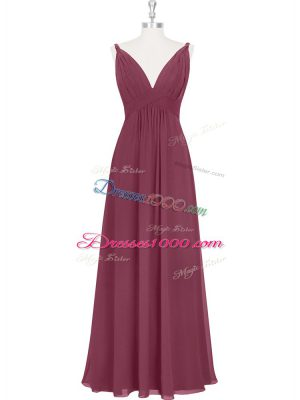 High End Empire Prom Gown Burgundy V-neck Chiffon Sleeveless Floor Length Backless