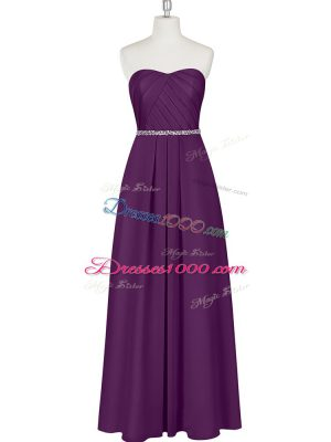 High Class Sweetheart Sleeveless Evening Wear Floor Length Beading Purple Chiffon