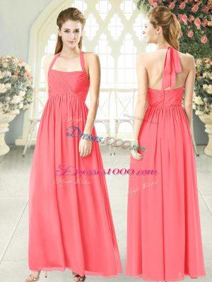 Flare Empire Dress for Prom Watermelon Red Halter Top Chiffon Sleeveless Floor Length Zipper