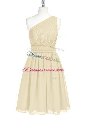 Mini Length Champagne Dress for Prom One Shoulder Sleeveless Zipper