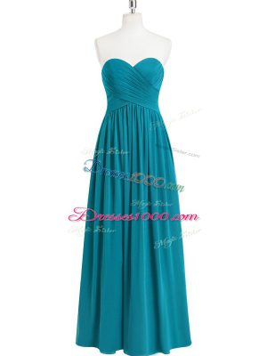 Teal A-line Chiffon Sweetheart Sleeveless Ruching Floor Length Zipper Prom Dress