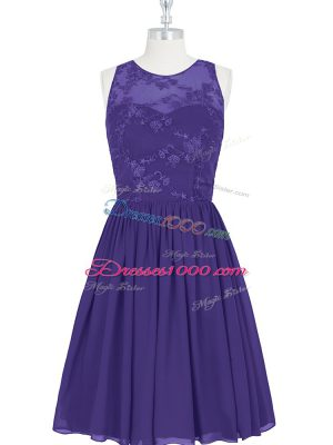 Amazing Purple A-line Chiffon Scoop Sleeveless Lace Mini Length Zipper Prom Gown