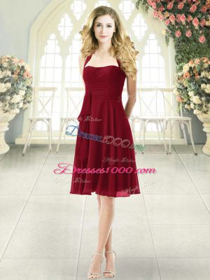 Elegant Burgundy Chiffon Zipper Halter Top Sleeveless Knee Length Party Dress for Girls Ruching