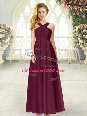 Eye-catching Straps Sleeveless Chiffon Evening Dress Ruching Zipper