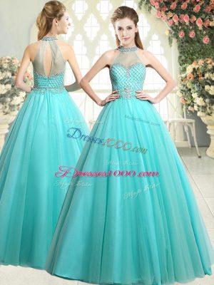 Adorable Aqua Blue Tulle Zipper Prom Dress Sleeveless Floor Length Beading