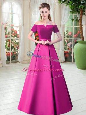 Gorgeous Fuchsia Short Sleeves Floor Length Belt Lace Up Evening Dress