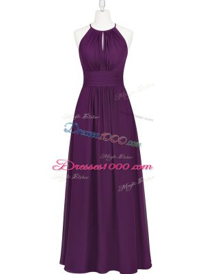 Purple Empire Chiffon Halter Top Sleeveless Ruching Floor Length Prom Dress
