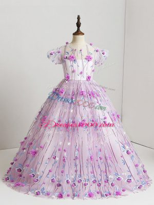Cute Short Sleeves Zipper Floor Length Hand Made Flower Kids Pageant Dress
