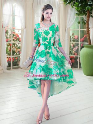 Turquoise Lace Up Scoop Belt Homecoming Dress Lace Half Sleeves