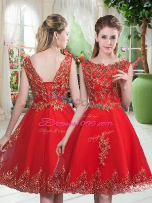 Wonderful Knee Length Red Prom Dresses Scoop Sleeveless Lace Up