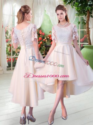 Cute High Low Champagne Dress for Prom Scoop Short Sleeves Lace Up