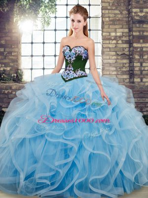Glittering Sweetheart Sleeveless Sweep Train Lace Up Sweet 16 Dresses Baby Blue Tulle