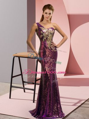 High Class Sequined One Shoulder Sleeveless Brush Train Lace Up Beading and Appliques Evening Dress in Purple
