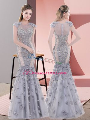 Chic Grey Tulle Lace Up Scoop Cap Sleeves Floor Length Prom Dresses Beading and Lace and Hand Made Flower