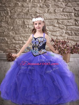 Simple Embroidery and Ruffles Pageant Dresses Purple Lace Up Sleeveless Floor Length
