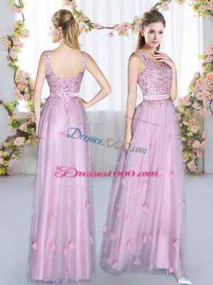 Lavender Empire Tulle V-neck Sleeveless Beading and Appliques Floor Length Lace Up Bridesmaid Gown