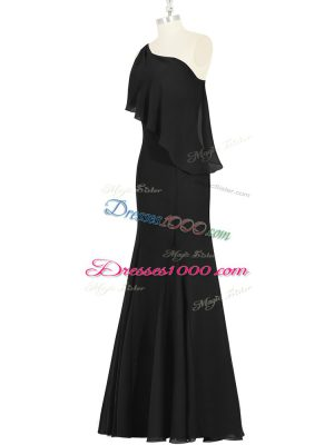 Modest Black Chiffon Side Zipper One Shoulder Sleeveless Floor Length Evening Party Dresses Ruching