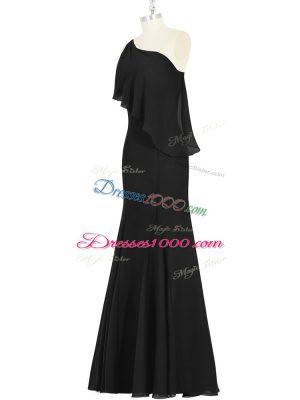 Modest Black Chiffon Side Zipper One Shoulder Sleeveless Floor Length Evening Party Dresses Ruching
