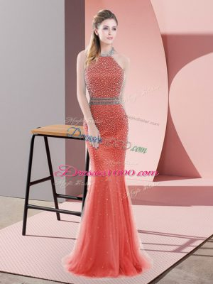 Halter Top Sleeveless Sweep Train Backless Prom Evening Gown Red Tulle