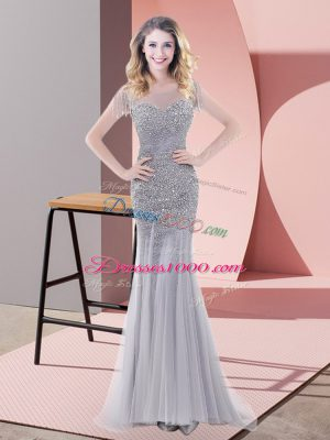 Fabulous Tulle Short Sleeves Floor Length Prom Evening Gown and Beading
