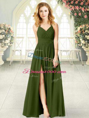 Chic Olive Green Halter Top Zipper Ruching Sleeveless