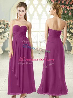 Customized Empire Homecoming Dress Purple Sweetheart Chiffon Sleeveless Ankle Length Zipper
