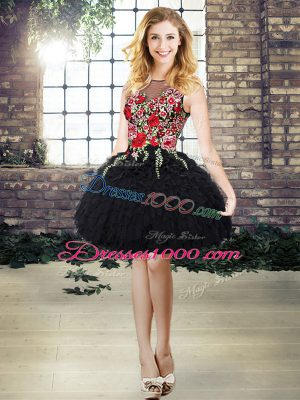 Latest Scoop Sleeveless Lace Up Evening Party Dresses Black Organza