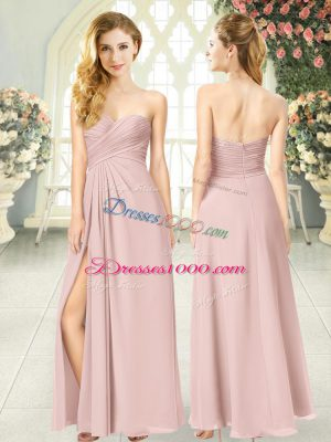 Floor Length Empire Sleeveless Pink Prom Dress Zipper