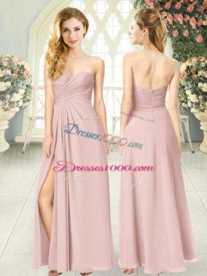 Floor Length Empire Sleeveless Pink Prom Dress Zipper