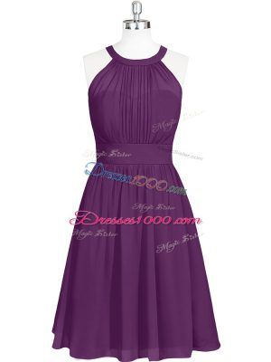Sleeveless Chiffon Mini Length Zipper Prom Party Dress in Purple with Ruching
