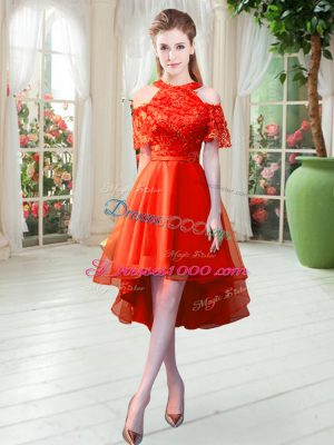 Short Sleeves High Low Lace Zipper Prom Dresses with Rust Red