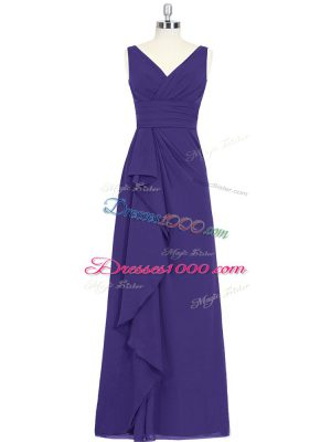 Excellent Purple A-line Chiffon V-neck Sleeveless Ruching Floor Length Zipper Prom Gown