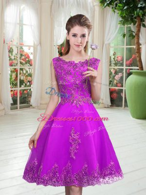 Dazzling Beading and Appliques Prom Dress Purple Lace Up Sleeveless Knee Length