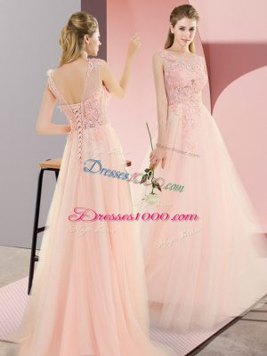 Beauteous Sleeveless Tulle Floor Length Lace Up Prom Dresses in Pink with Beading and Lace and Appliques