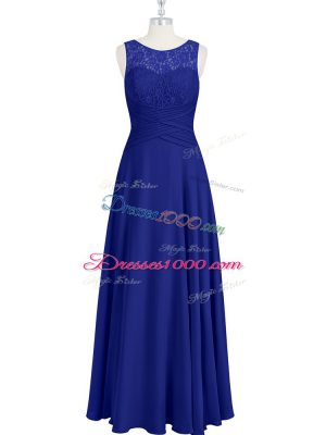 Fantastic Floor Length Empire Sleeveless Royal Blue Prom Evening Gown Zipper