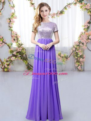 Decent Sequins Dama Dress Lavender Zipper Short Sleeves Floor Length