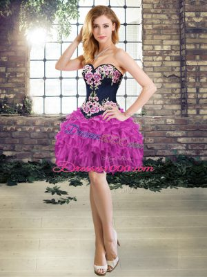 Purple Juniors Evening Dress Prom and Party with Embroidery and Ruffles Sweetheart Sleeveless Lace Up