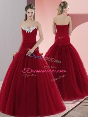 Artistic Sweetheart Sleeveless Prom Dresses Floor Length Beading Red Tulle